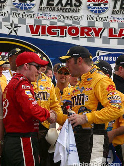 Dale Earnhardt Jr. gives Elliott Sadler congratulatory handshake