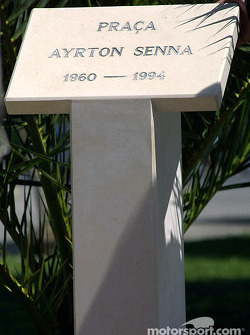 Ayrton Senna monument at the 'Ayrton Senna Square' in Estoril