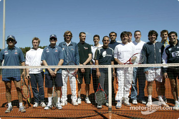 Tennis charity tournament at the Open Sports Club in Barcelona: Felipe Massa, Nick Heidfeld, Giancarlo Fisichella, Alexander Wurz, Juan Pablo Montoya, Marc Gene and friends
