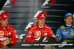 Press conference: race winner Michael Schumacher with Rubens Barrichello and Jarno Trulli