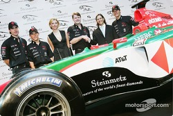 Jaguar Racing and Steinmetz present the Diamond Jaguar R5:  Bjorn Wirdheim, Christian Klien, Mark Webber and Bridget Hall pose with the Diamond Jaguar R5