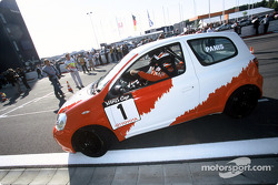 Olivier Panis in a Toyota Yaris Cup car