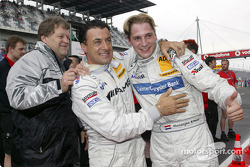 Christijan Albers celebrates pole with Jean Alesi and Norbert Haug