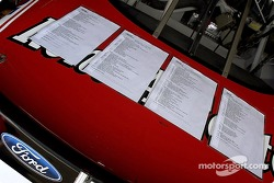 Wood Brothers race day checklist on four pages