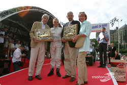 Johnny Herbert receives pole winner trophy