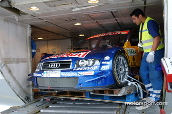 DTM cars and equipment are packed in the Lufthansa Cargo Boeing 747