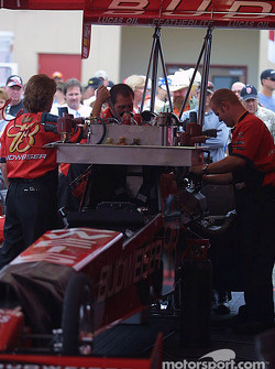 Crew works on Brandon Berstein's Top Fuel dragster