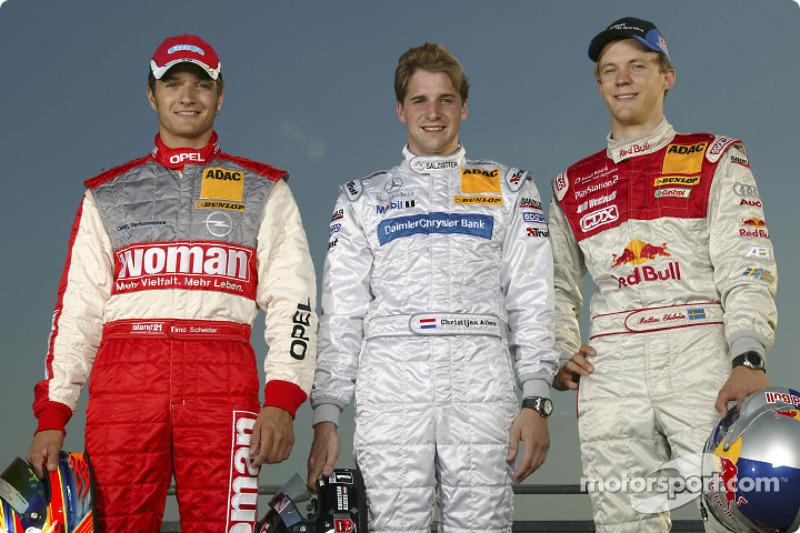 Timo Scheider, Christijan Albers and Mattias Ekström