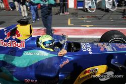 Felipe Massa celebrates 4th place finish