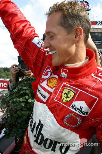 Podium: Michael Schumacher celebrates World Championship