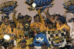 Victory lane: pop corn shower