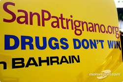 Message from Bahrain for the Italian GP on the Jordan: 'Drugs don't win'