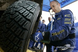 Subaru World Rally Team crew at work