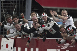 BAR-Honda team members celebrate third place of Jenson Button