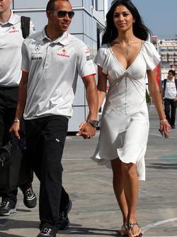 Lewis Hamilton, McLaren Mercedes, Nicole Scherzinger, Singer in the Pussycat Dolls and girlfriend of Lewis Hamilton