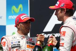 Podium: second place Lewis Hamilton, McLaren Mercedes, third place Jenson Button, McLaren Mercedes