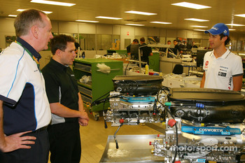 Mark Gallagher, General Manager of Cosworth's F1 Business Unit and Bruno Senna, Hispania Racing F1 Team, visit of the Cosworth factory in Northhampton