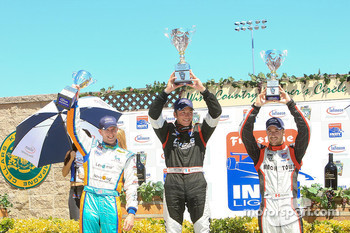 Podium: race winner Jean-Karl Vernay, second place Charlie Kimball, third place James Hinchcliffe