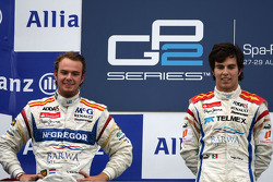Podium: race winner Sergio Perez, second place Giedo van der Garde