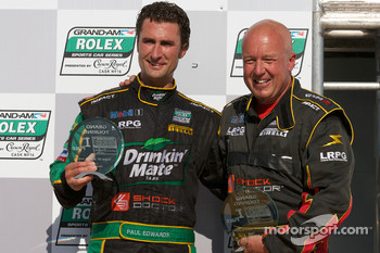 GT podium: class winner Paul Edwards with team owner Leighton Reese
