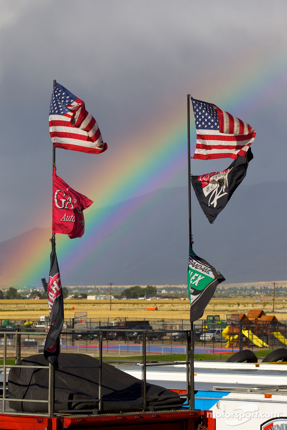 Rainbow over the Miller Motorsports Park paddock