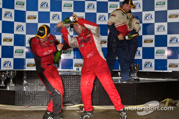 ST podium: class winners Ian Baas and Aaron Povoledo celebrate with champagne