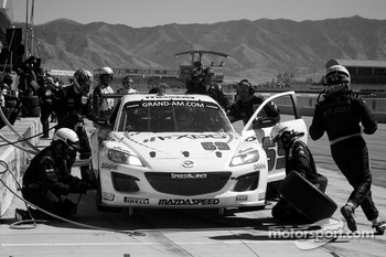 Pit stop for #69 SpeedSource Mazda RX-8: Emil Assentato, Jeff Segal