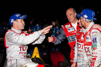 Rinaldo Capello, Tom Kristensen and Allan McNish with Dr. Wolfgang Ullrich