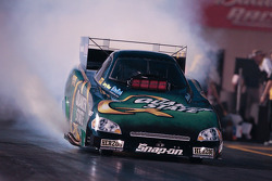 Tony Pedregon, burnout in the Quaker State Impala Funny Car