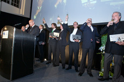 The American Le Mans Series 2010 champions give a toast