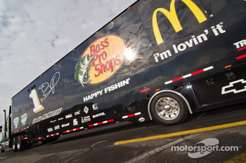 The Bass Pro Shops hauler pulls into the track