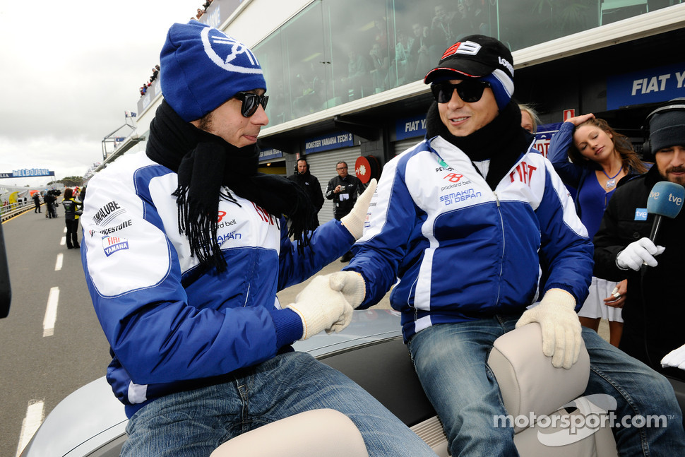 Valentino Rossi, Fiat Yamaha Team and Jorge Lorenzo, Fiat Yamaha Team