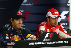 Pole winner Sebastian Vettel, Red Bull Racing, third place Fernando Alonso, Scuderia Ferrari