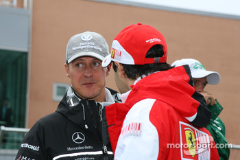 Michael Schumacher, Mercedes GP and Fernando Alonso, Scuderia Ferrari