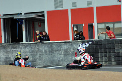 GT1 Karting in Navarra: Christoffer Nygaard crosses the line to win race 2 ahead of Johnny Herbert