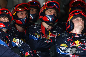Red Bull Racing mechanic watch the race