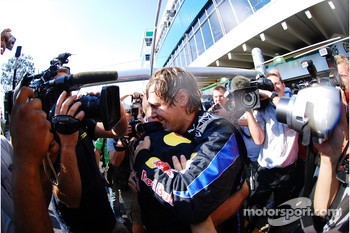 Red Bull Racing team celebration: race winner Sebastian Vettel, Red Bull Racing