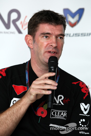Graeme Lowdon Chief Executive of Virgin Racing at a press conference where Virgin Racing announced that Marussia have acquired a shareholding in the team
