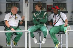 Mike Gascoyne, Lotus F1 Team, Chief Technical Officer with Jarno Trulli, Lotus F1 Team and Tony Fernandes, Lotus F1 Team, Team Principal
