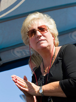 Mother of Kurt and Kyle Busch, Gaye Busch watches her sons race