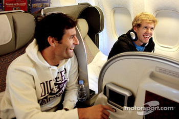 Mark Webber and Sebastian Vettel on their flight to Red Bull headquarters