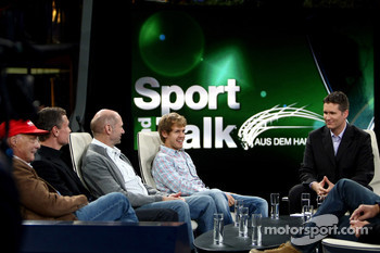 Niki Lauda, consultant David Coulthard, chief technical officer Adrian Newey, Sebastian Vettel and anchorman Andreas Groebl
