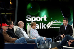 Niki Lauda, consultant David Coulthard, chief technical officer Adrian Newey, Sebastian Vettel and anchorman Andreas Groebl