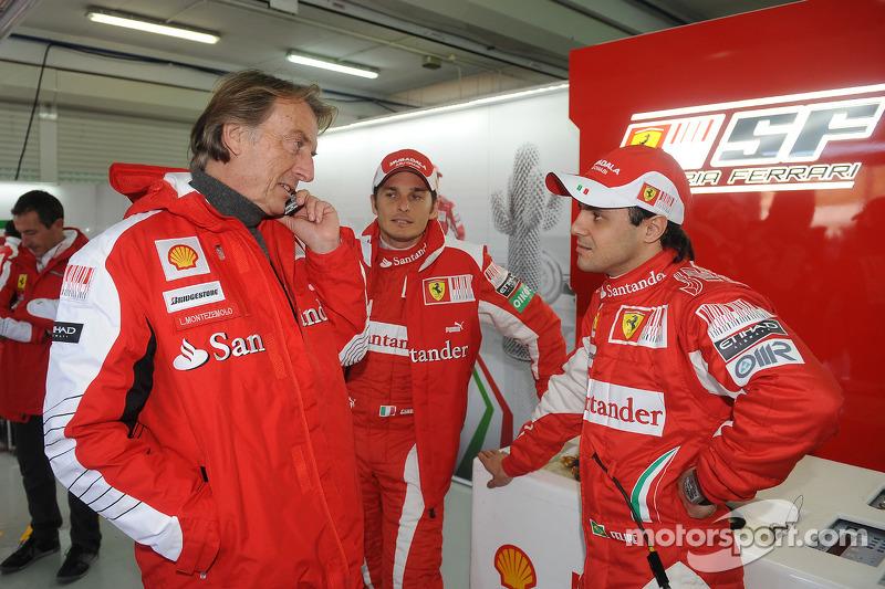 Luca di Montezemolo, Felipe Massa and Giancarlo Fisichella