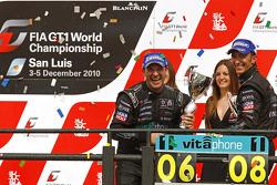 Championship podium: 2010 FIA GT1 World champions Andrea Bertolini and Michael Bartels