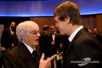 FOM President Bernie Ecclestone and FIA Formula One World Champion Sebastian Vettel