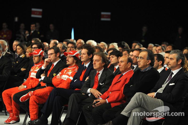 Felipe Massa, Stefano Domenicali, Fernando Alonso, John Elkann, Luca di Montezemolo, Emilio Botin, Sergio Marchionne, Maurizio Arrivabene