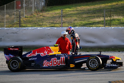 Mark Webber, Red Bull Racing stops at the end of the session