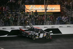 Race winner Michael Waltrip, Toyota celebrates