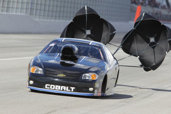 Erica Enders deploys the parachutes on her Zaza Energy Drink Chevy Cobalt